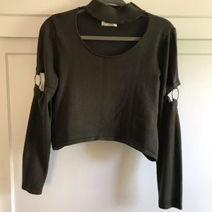 Olive green cropped sweater from LF